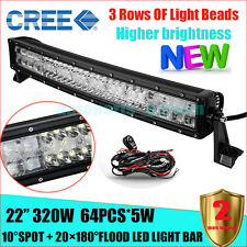 """CREE 320W 22"""" FLOOD SPOT CURVED LED Work Light Bar Offroad Drivin Lamp 4WD SUV"""