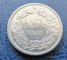 Münze 1/2 Schweizer Franken 1981 aus Umlauf gültiges Zahlungsmittel