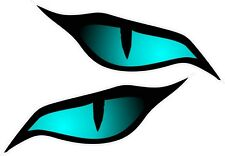 Pair Evil Eyes Eye Blue Colour vinyl car motorbike helmet sticker 70x30mm each