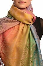 Large Ombre Paisley and Diamond On Beige Pashmina With Tassels (SF002673)