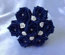 WEDDING FLOWERS IVORY NAVY BLUE ROSE FLOWER GIRL BOUQUET WAND POSIE ARTIFICIAL