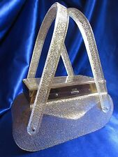 VINTAGE RARE WILARDY GOLD LAME LUCITE COMPACT LUCITE PURSE!! STUNNING