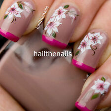 Nail Art Water Transfer Decal Wraps Bride Pink & White Lily Nails Flower Y101