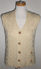 1940 1950 Vintage Famous Barr Co Wool Button Butter Cream Vest Made In Italy Med