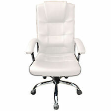 White Office Chair Business Faux Leather swivel executive computer P37