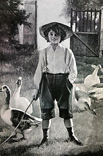Rebaudi FARM BOY with DUCKS - P'TIT LOUIS - 1890 Engraving Art Print Matted
