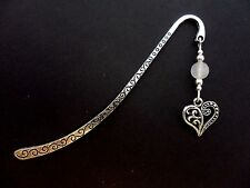 A TIBETAN SILVER & OPAQUE WHITE  JADE BEAD  & ELEPHANT CHARM BOOKMARK. NEW.