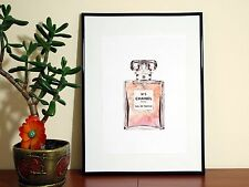 CHANEL NO 5 CHANNEL PERFUME PARFUM WATERCOLOR- A4 Glossy Poster - FREE Shipping