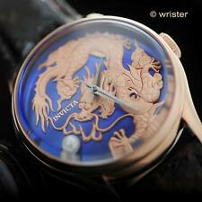 Invicta Vintage Dragon Master 18k Rose Gold IP Leather Blue MOP Automatic Watch