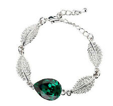 Emerald Green & Silver Shiny Bracelet Great as Christmas Jewellery BB128