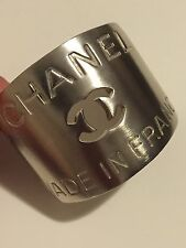 Rare Vintage Chanel Heavy Silver Metal Logo Stamp Cut Out Cuff Bracelet 99P