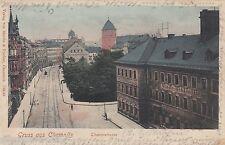 Gruss aus Chemnitz AK 1906 Theaterstrasse Bibliothek Konditorei Sachsen 1603061