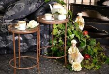 Victorian Round coffee table metal vintage solid legs glass mirror decor  L 295