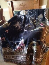I Love Black Labrador Puppies Lab Cotton Jacquard Woven Afghan Throw Blanket NEW