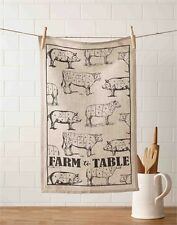 Mud Pie Farm To Table Kitchen Linen Hand Towel - Pigs, Sheep and Cows