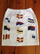 Vintage Talbots Nautical Yacht Boating Flags Preppy Cotton Pencil Skirt 6