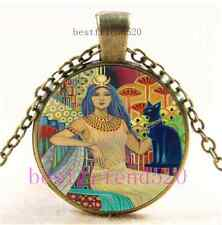 Vintage Egyptian Cat Goddess Cabochon Glass Bronze Chain Pendant Necklace
