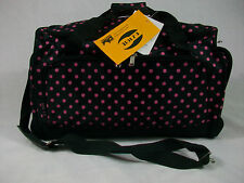 "25"" High Quality Duffle/Gym/Travel/Tote Bag  Black w/Pink Polka Dots Free Ship"