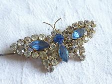 Vintage  jewellery diamante and blue rhinestone claw set butterfly brooch