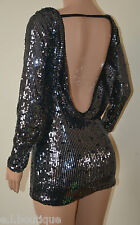 VICKY MARTIN sequin black long sleeve backless fitted mini dress BNWT 6 8 10