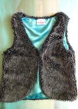 Hanna Andersson Girls 120 6 6X 7 Faux Fur Gray Sherpa Plush Jacket Vest Top Soft