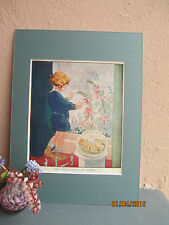 vintage illustration of child looking at the rain by Ruth Mary Hallock 1930