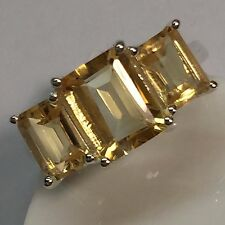 Estate Natural 8ct Golden Citrine 925 Solid Sterling Silver Emerald Cut Ring 6
