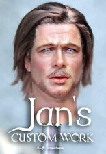 RARE 1/6 Hot CUSTOM REPAINT REHAIR Brad Pitt toys action figure head sculpt