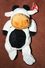 """Ty Pluffies 7"""" GRAZER Cow Bead eyes print error mint tags RETIRED Baby TyLux"""