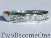 HALF ETERNITY DIAMOND RING PRINCESS CUT 1.00ct G VS2 18k WHITE GOLD