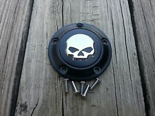 Black with Chrome Skull Timer Point Cover Harley all 99 later Twin Cam Models