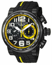 Graham 2BLDC.B28A Silverstone StoweRacing Men Black Rubber Band Watch New in Box