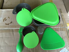 NEW 9 pc. Nesting Hiking or Camping Mess Kit Durable Plastic, GREEN