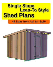 8x12 Single Slope Lean-to Style Shed Plans In 45 Sizes From 4x4 To 12x20