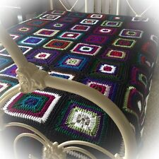 New Handmade Granny Square Crochet Afghan Queen or Full Bed Sized #1602