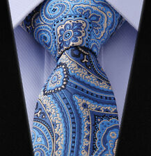 "TF445B7 Blue Gold Floral 2.75"" Silk Slim Skinny Narrow Men Tie Necktie"