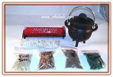 Pentagram Cauldron Incense Burner Charcoal and 4 Resin, Sage Charcoa Kit travel