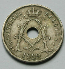 1929 BELGIUM Coin - 25 Centimes - Belgie - holed as issued