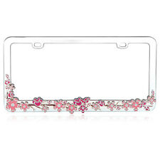 Pink Flower Chrome Coating Metal License Plate Frame Auto Car Truck Van SUV