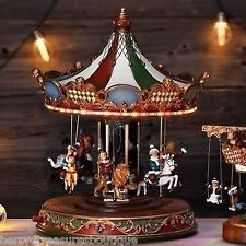 "16.5"" MUSICAL ROTATING CAROUSEL LED Lights CHILDREN RIDING ANIMALS Christmas"