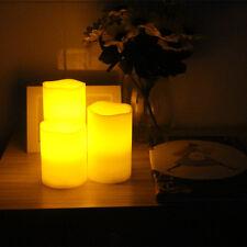 3er Set Romantische LED Kerzen Kerze flackernd für Innen und Außen Deko Gelb