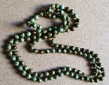 "VINTAGE MURANO SCOTTISH AGATE GREEN PEBBLE FLAPPER LENGTH 49"" NECKLACE"