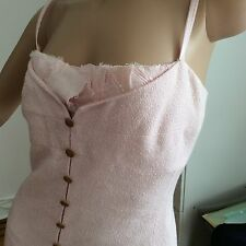 CHANEL Pink Tweed Dress 38 With Silk Petals and Silk Insert Flower CC Buttons