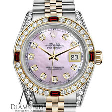Womens Rolex Stainless Steel & Gold 36mmDatejust Watch PinkMOP Dial Ruby Diamond