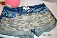 Victorias Secret Pink CAMO Studded Denim Cut Off Cheeky Shorts NWT 2