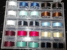25 Sewing machine Bobbins loaded with quality thread plus storage case...A...