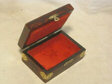 * small trinket box padded container China Asian jewelery case missing top part