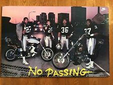 VINTAGE NIKE NO PASSING OAKLAND RAIDERS POSTER LESTER HAYES HARLEY 80s RARE