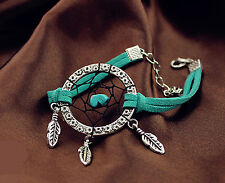 Women Lady Blue Turquoise dream catcher net syn Suede Bracelet Wristband band