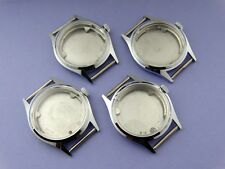 NEW 4 watch CASE LOT for MEN wristwatch manual mechanical movement NOS STEEL SS